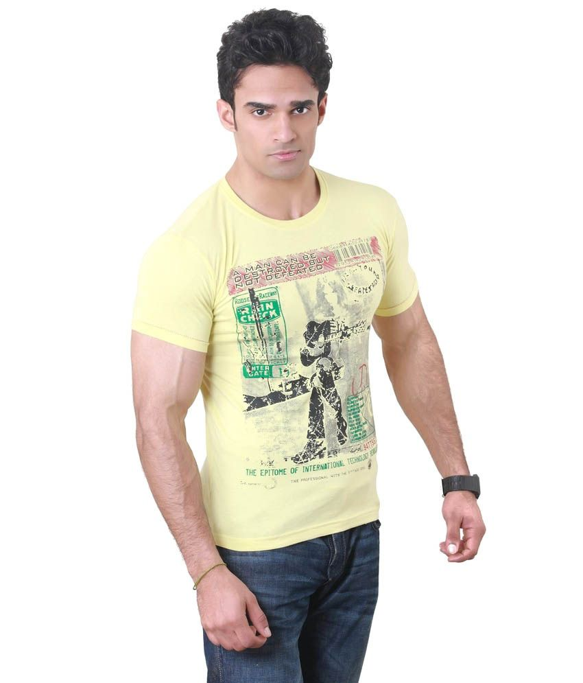 Hebe Yellow Printed Half T Shirt