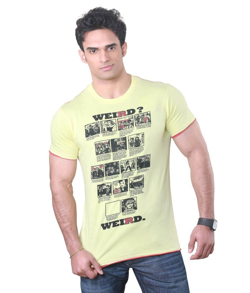 Hebe Yellow Printed Half T Shirt