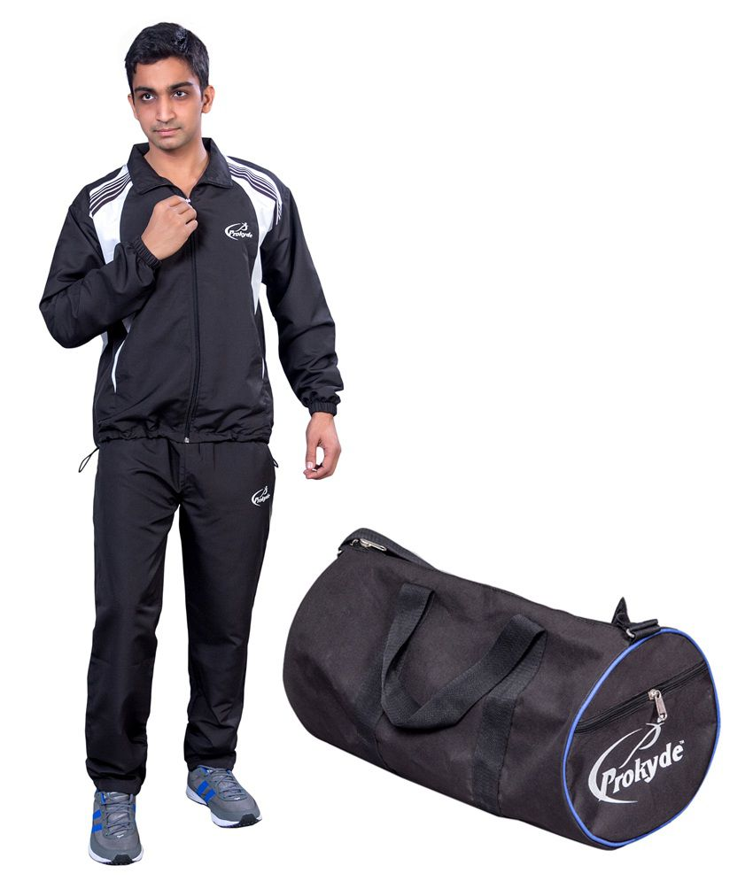 Prokyde Black Tracksuit And Black Gym Bag Special Combo