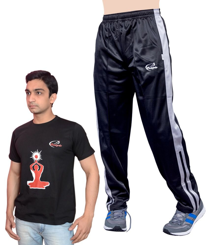 Prokyde Yoga Super Special Combo Black T-shirt And Black Trackpant