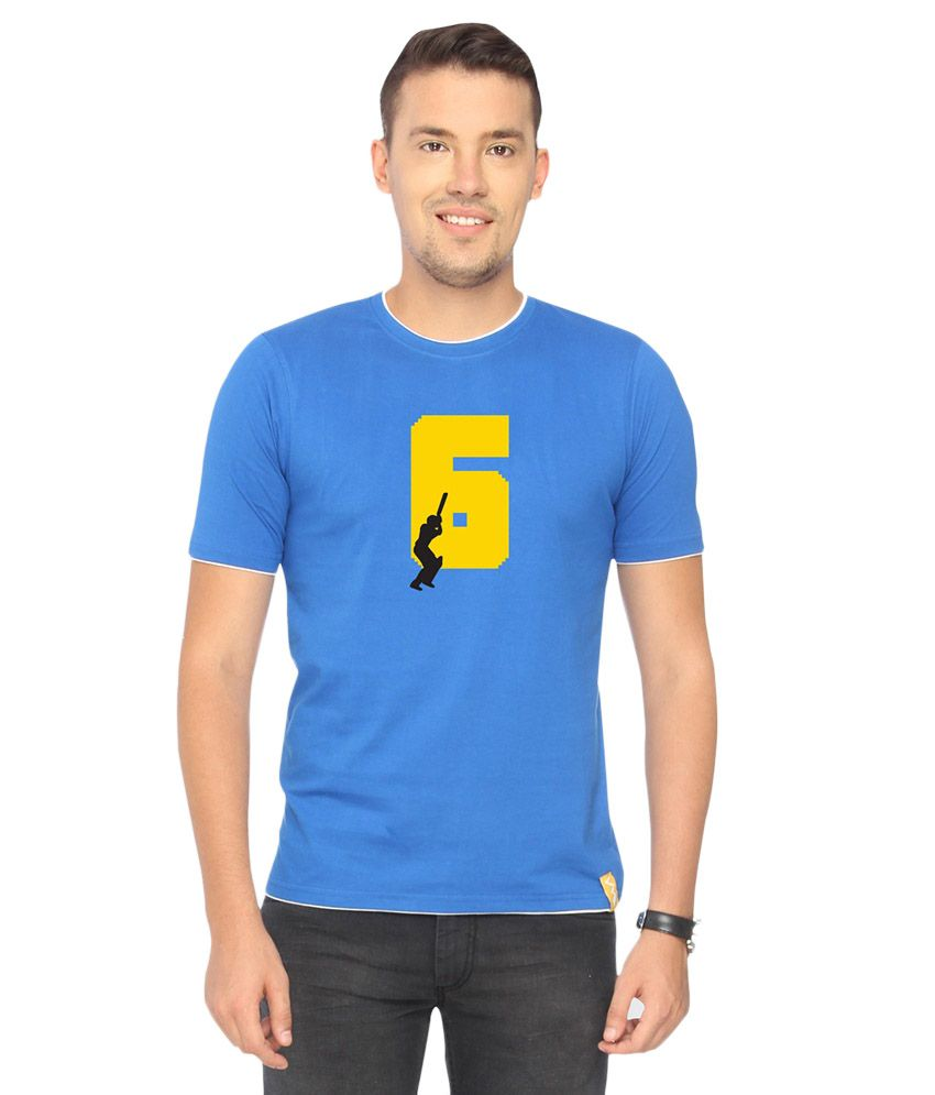 Campus Sutra Blue Six Printed T-shirt