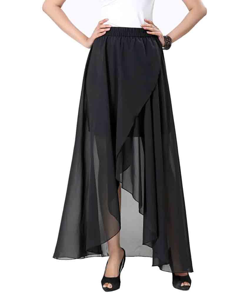 Buy Eavan Black Georgette Skirts Online at Best Prices in India ...