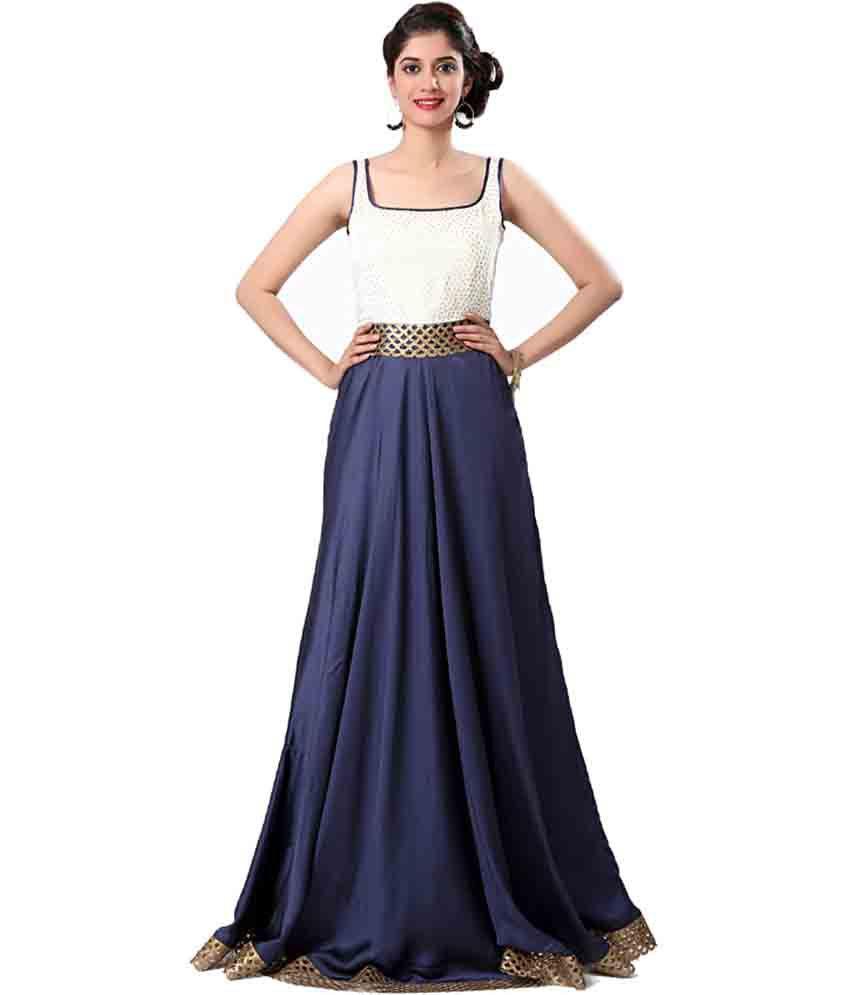Eavan Blue Satin Gowns
