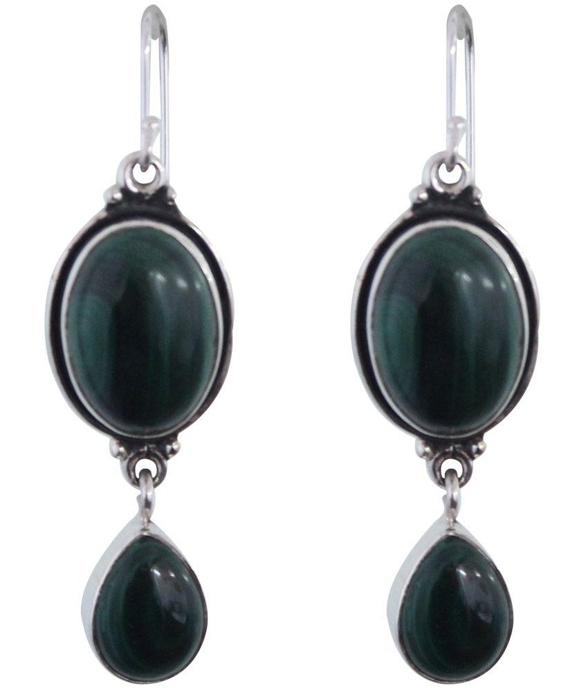 Gopalam Gems Green Designer American Diamond Drop Earrings
