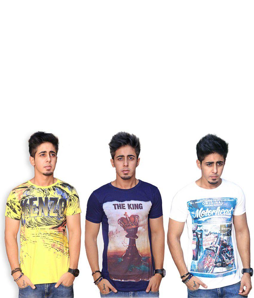 Inddus Cotton Round Neck Basic T-shirt - Combo Of 3