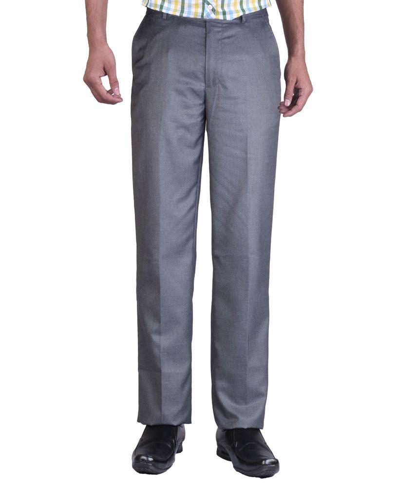 Promo Land Gray Cotton Regular Fit Flat Formal Trouser