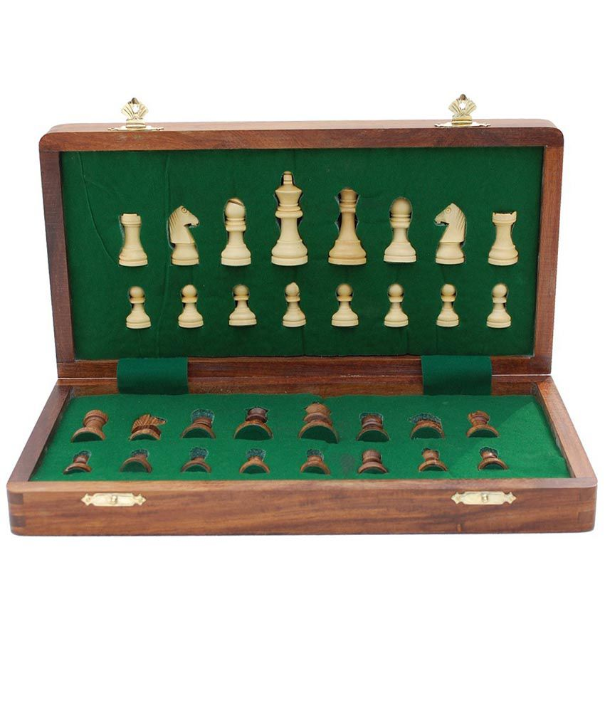 Craft Store India Hand Made Wooden Chess (12 Inch x 12 Inch folding)