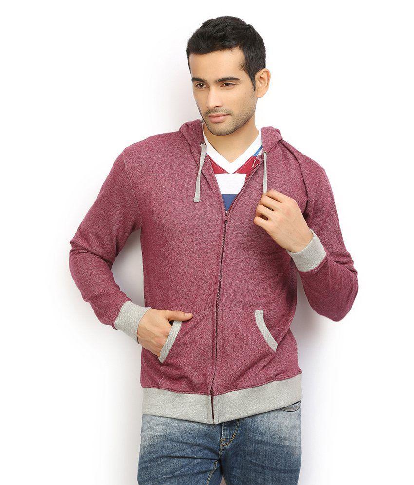 Ethane Mens Maroon Hooded Sweatshirt