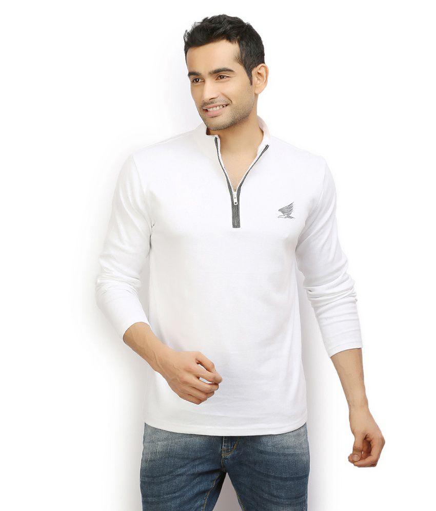 Ethane Mens White Long Sleeves Hi Neck T Shirt