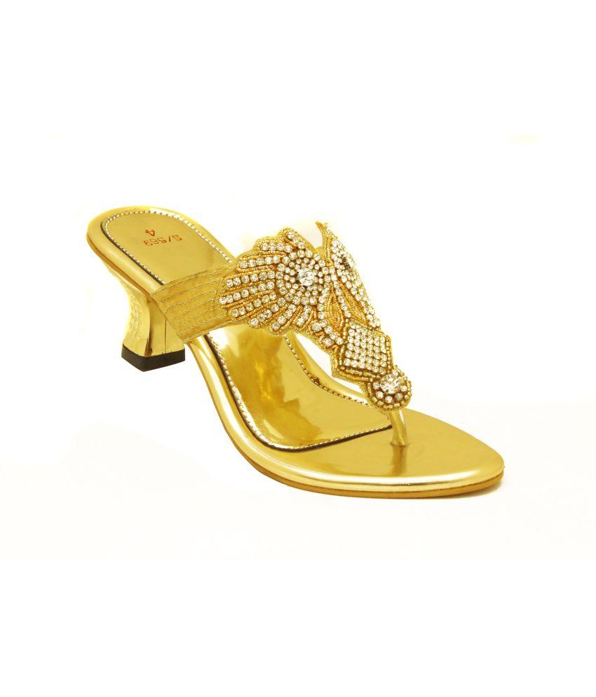 Sahebji Golden Low Heel Partywear Slip On