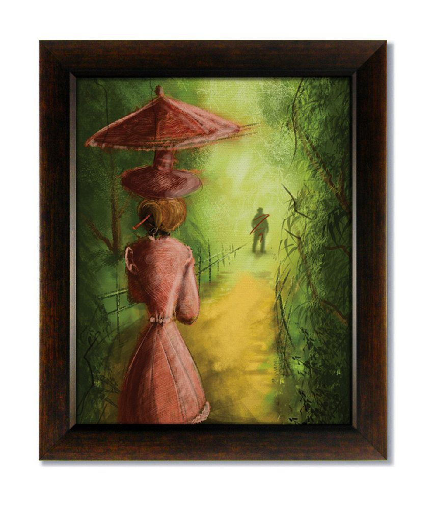 Stybuzz Girl With Umbrella Frameless Canvas Painting
