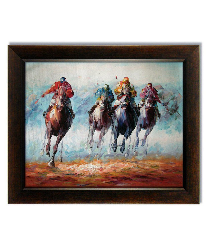 Stybuzz Horse Polo Frameless Canvas Painting