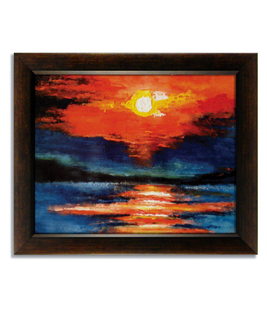 Stybuzz Sunset View Frameless Canvas Painting