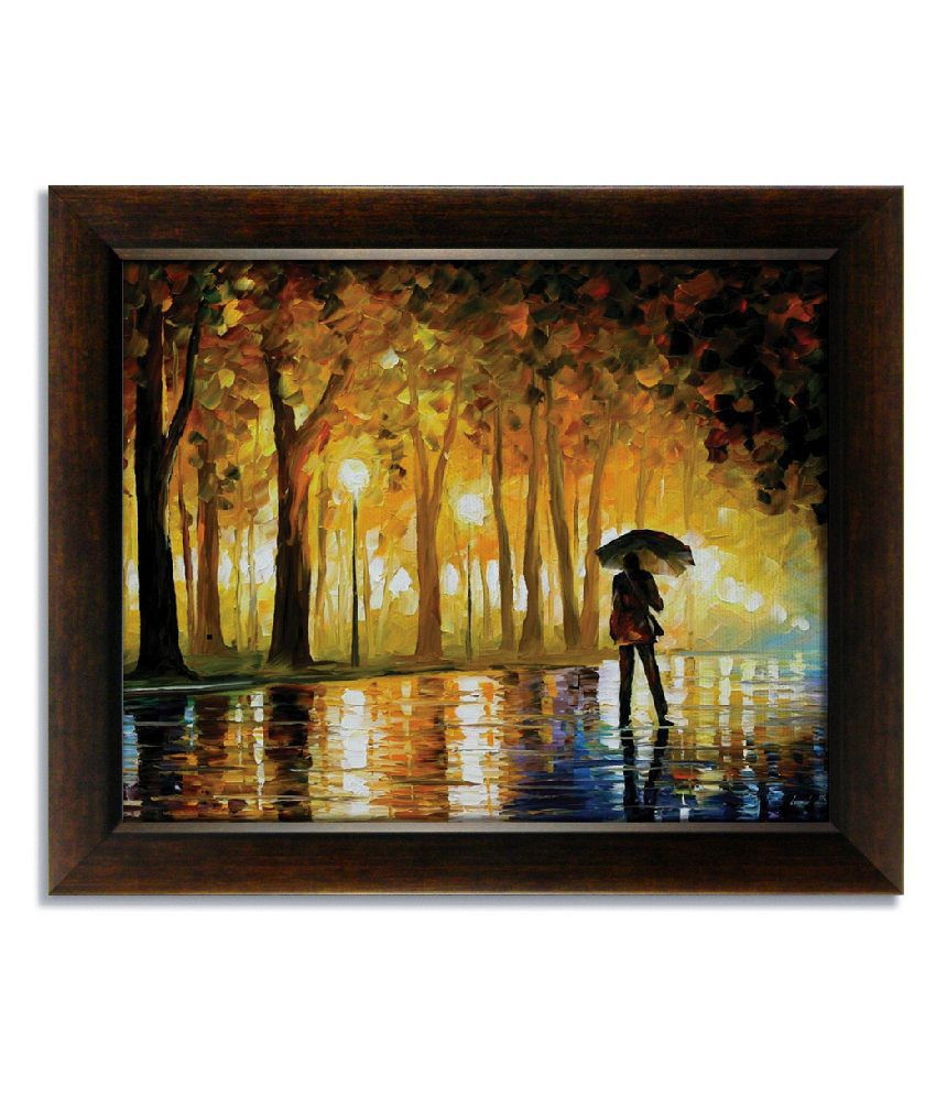 Stybuzz Walk In Rain Frameless Canvas Painting