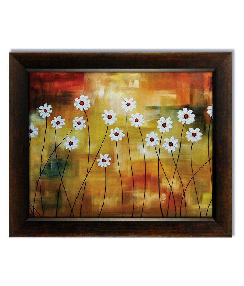 Stybuzz White Flowers Frameless Canvas Painting