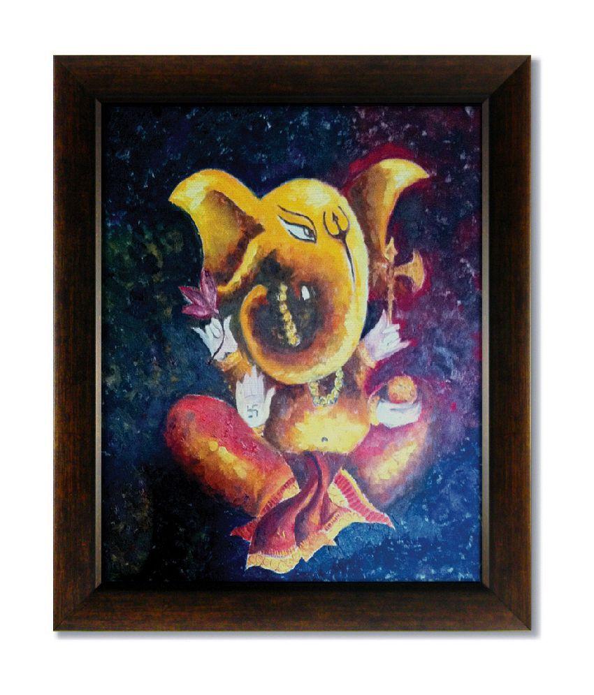 Stybuzz Yellow Ganesha Frameless Canvas Painting