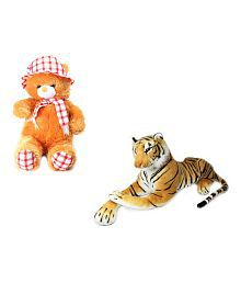 Kashish Toys Multicolour A Set Of Cute Princess Teddy Bear And Tiger Soft Toy