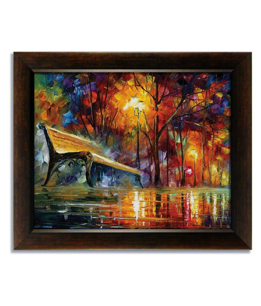 Stybuzz Bench In Park Frameless Canvas Painting