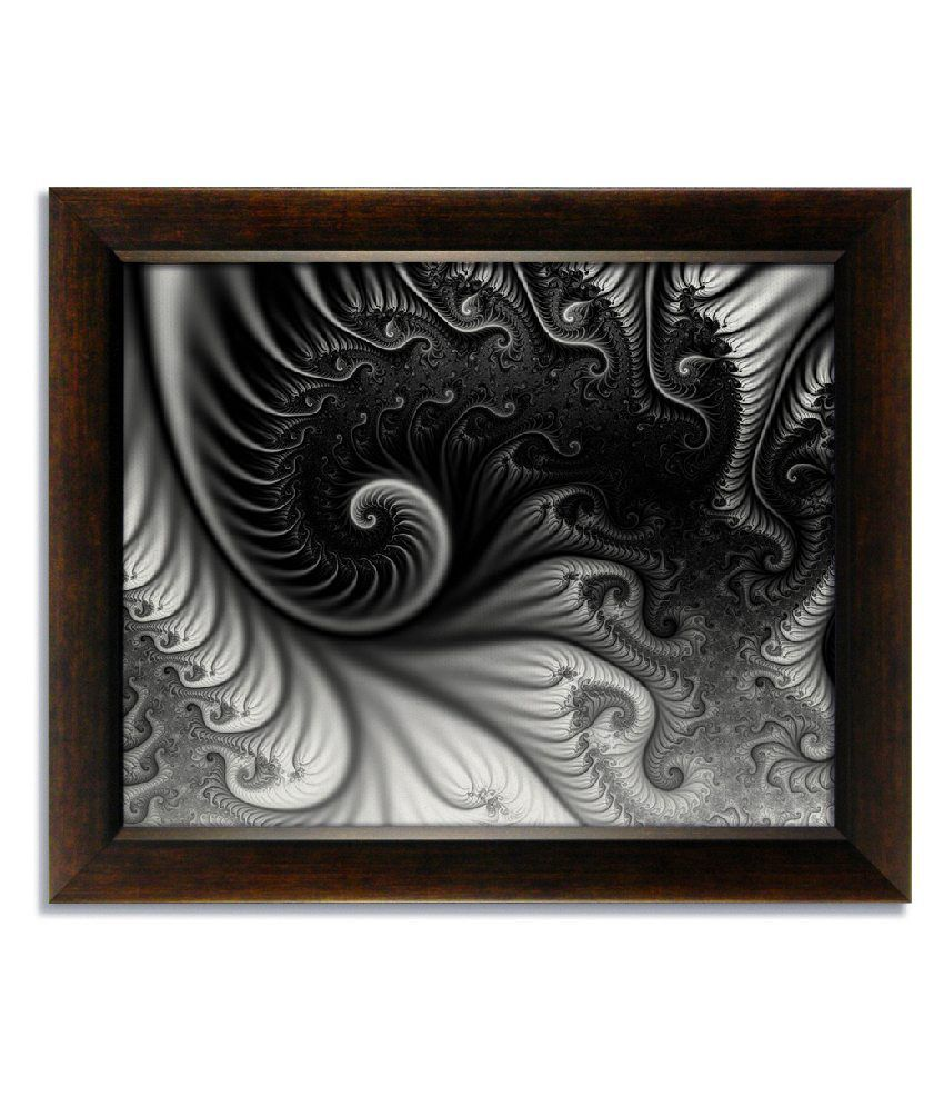 Stybuzz Gray Abstract Frameless Canvas Painting
