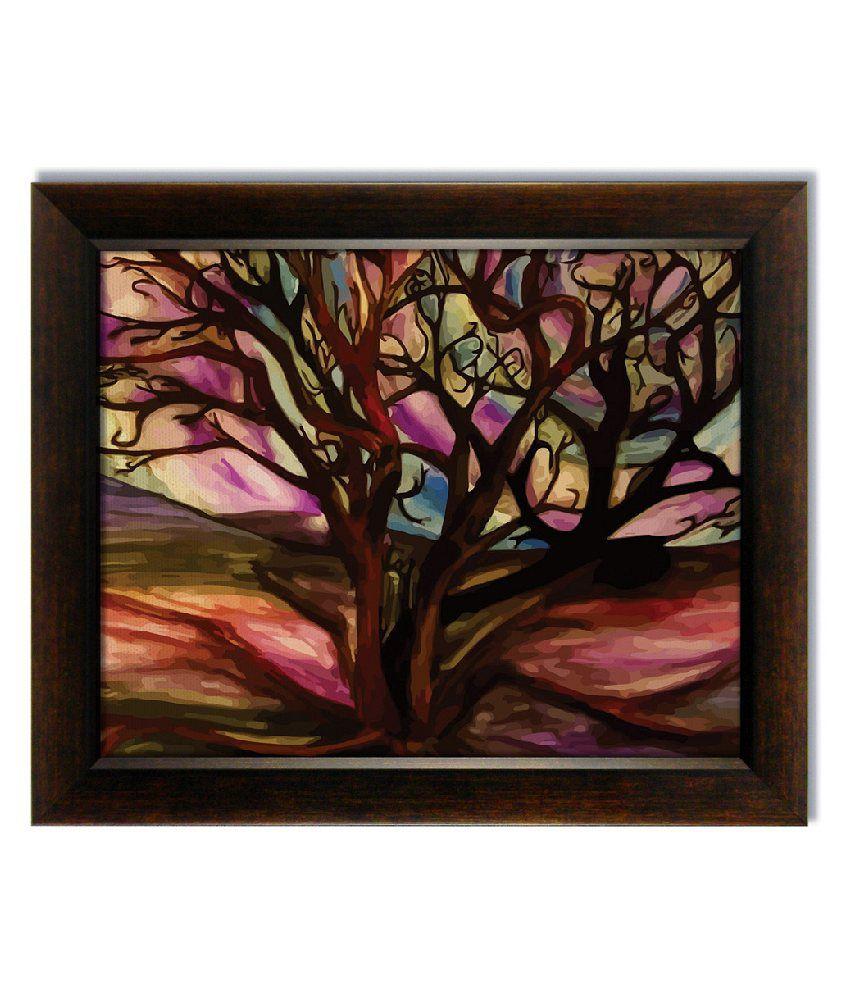 Stybuzz Multicolour Tree Frameless Canvas Painting