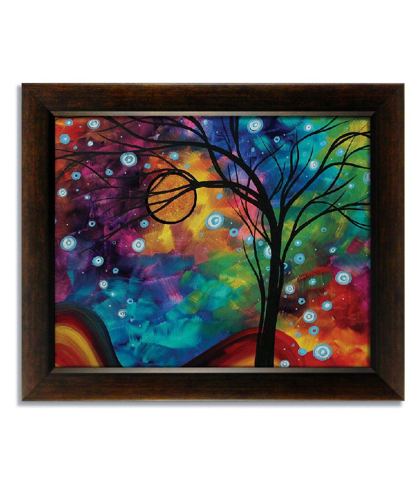 Stybuzz Multicolour Tree Frameless Canvas Painting