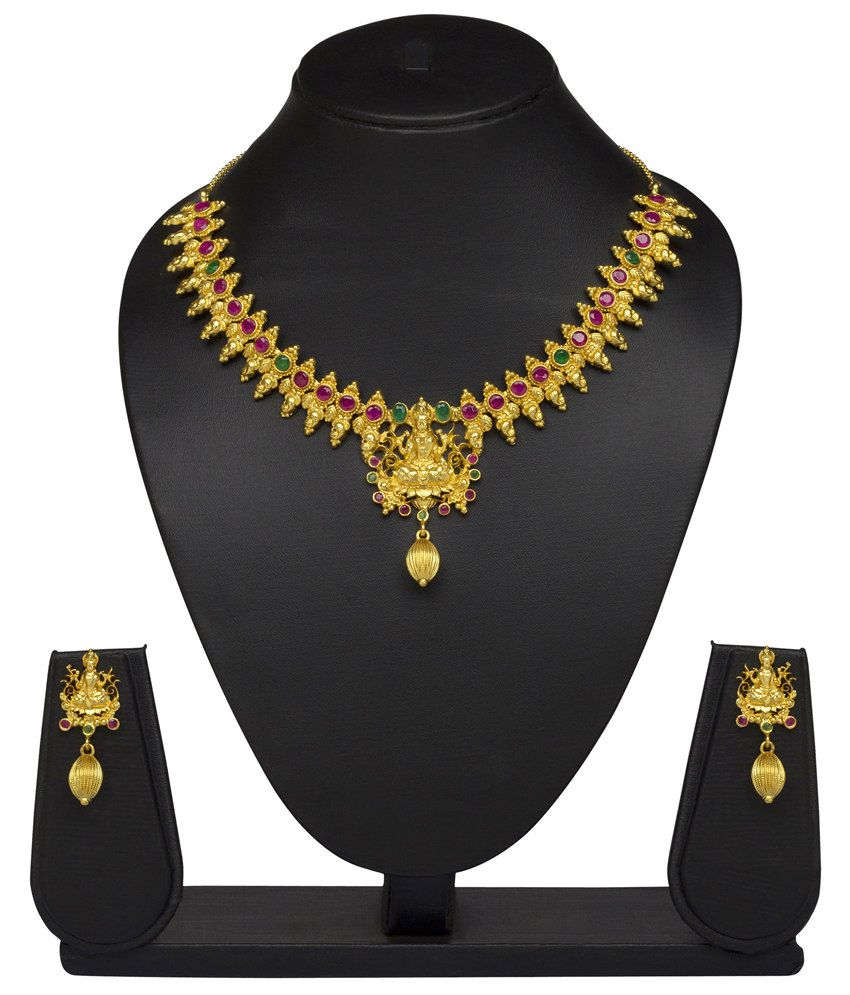 Vk Jewels Goddess Laxmi Gold Plated Temple Necklace With Earrings
