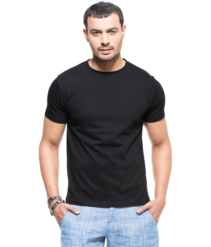 Black t shirt snapdeal - Zovi Black Cotton Round Neck Half Sleeves T Shirt