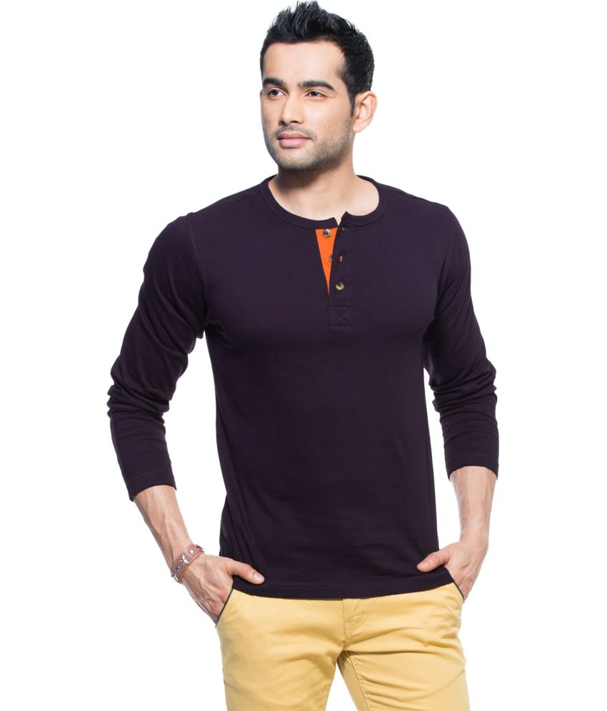 d420fe70 Zovi Purple Cotton Henley Neck Full Sleeves T-shirt - Buy Zovi Purple  Cotton Henley Neck Full Sleeves T-shirt Online at Low Price - Snapdeal.com