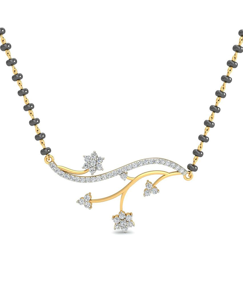 Caratandyou 18kt Gold Real Diamond Traditional Mangalsutras