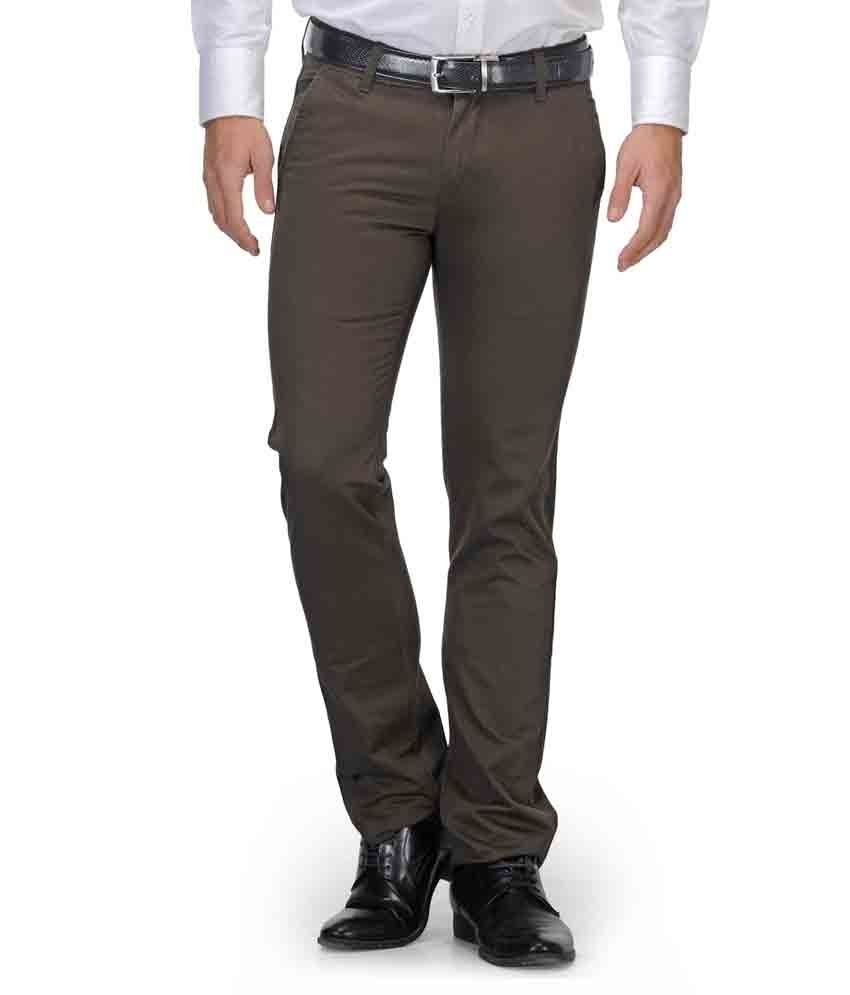 Fever Green Cotton Casual Trouses For Men