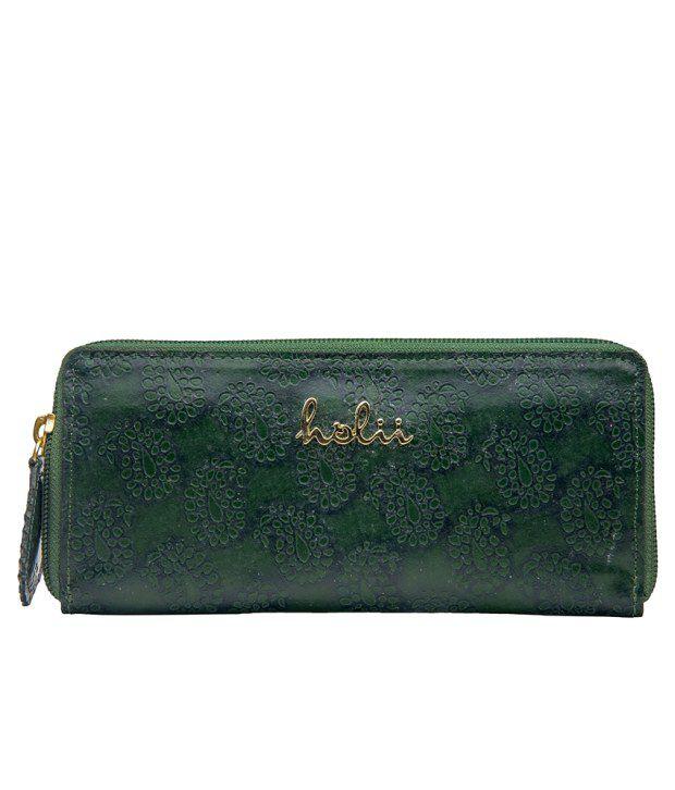 Holii Jaipur 03 Green Zip Around Wallet