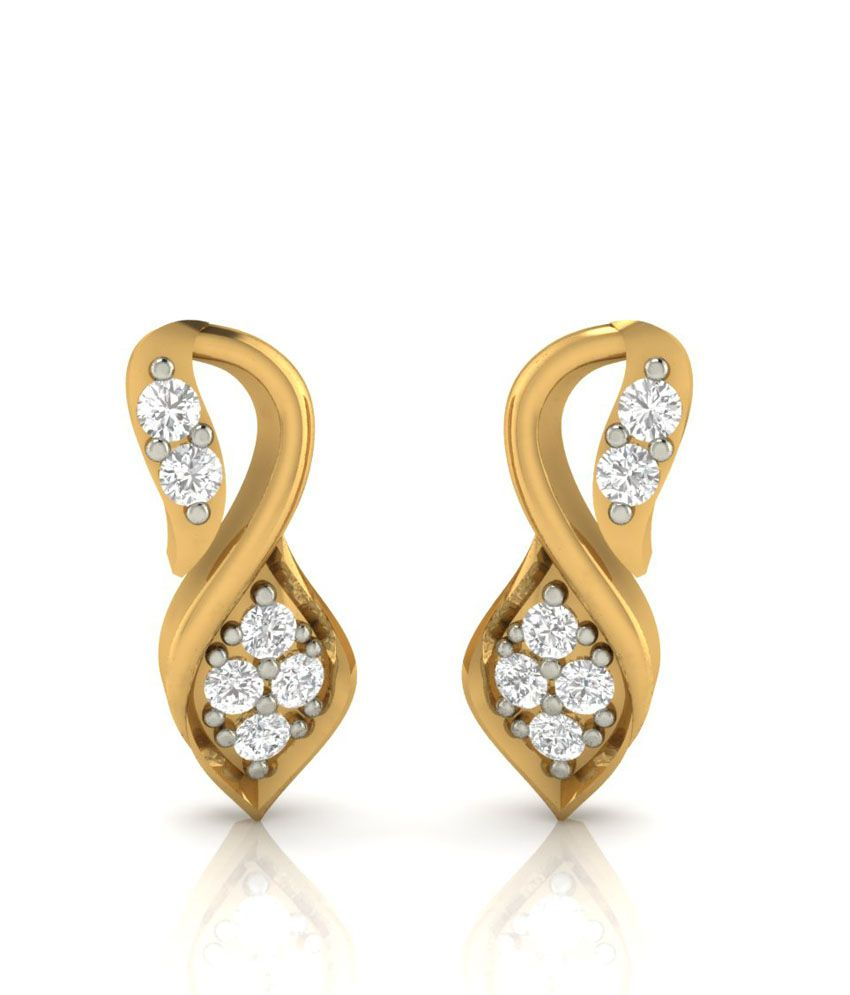 Demira Jewels 14kt Gold Contemporary Studs 100%Certified