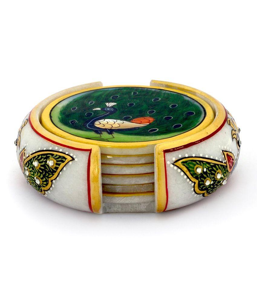 Jaipur Raga Meenakari Mayur Painting Marble 6 Tea Coaster Set 374