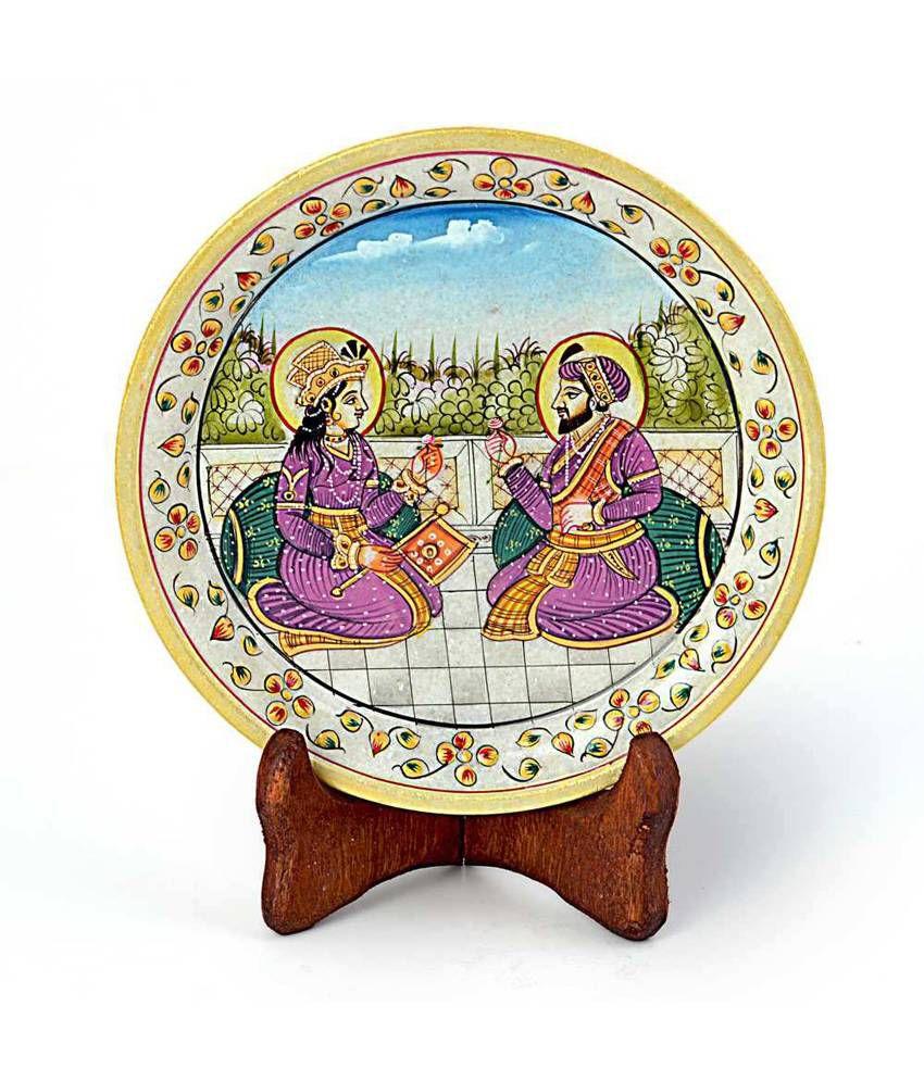 Jaipur Raga Mumtaj Shahjahan Gold Meenakari Marble Painting 394