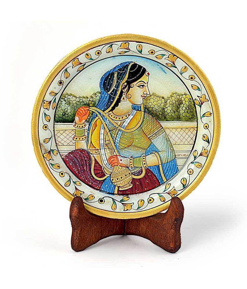 Jaipur Raga Rajasthani Princess Gold Meenakari Marble Painting 397