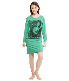 La Dreamz Green Cotton Night Shirts