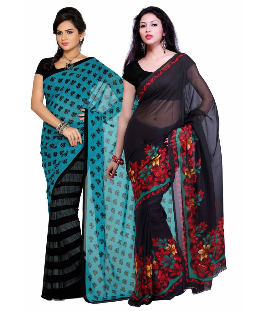 Aisha Faux Georgette Printed Saree With Blouse Piece-combo Of 2