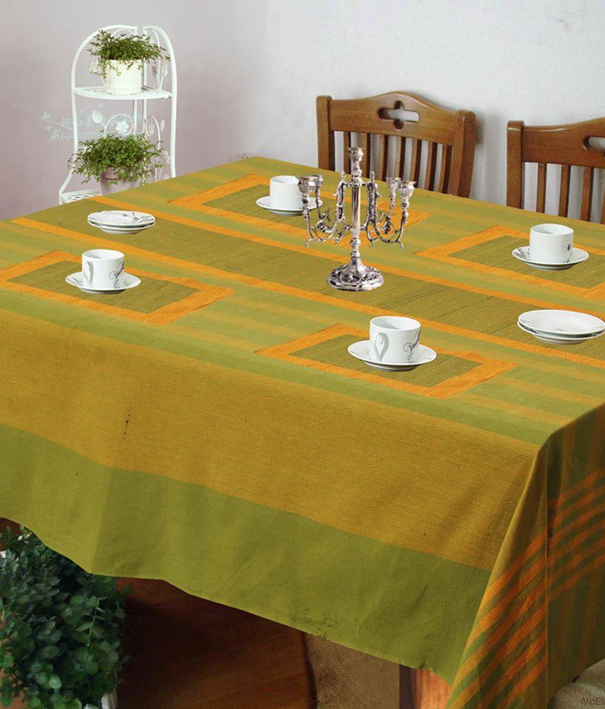 Kitchen Linen Set: Dhrohar Green Stripes Kitchen Linen Set