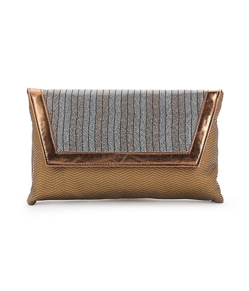 Elligator Brown Pu Two Compartment Clutch For Women