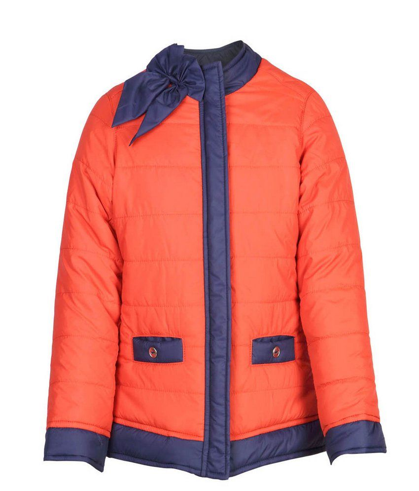 Ello Full Sleeve Orange Color Without Hood Padded Jackets For Kids
