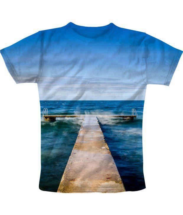 Freecultur Express Blue Cotton Blend T-shirt