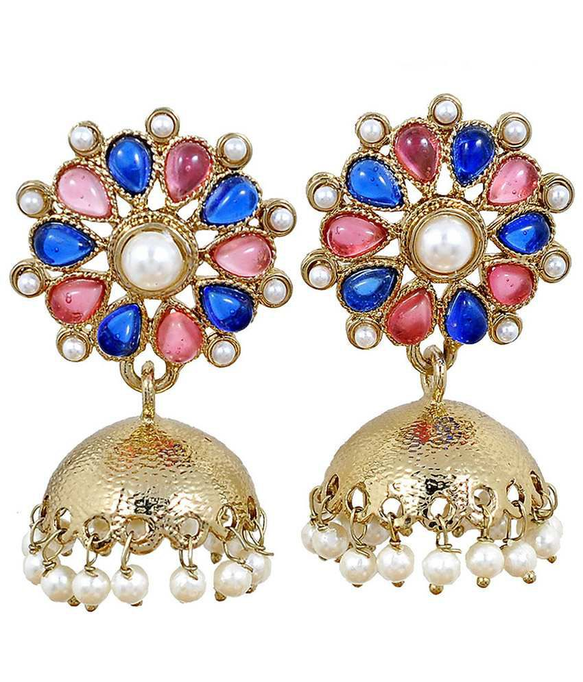 Maayra Sparkling Blue Pink Stone Work Drop Earrings