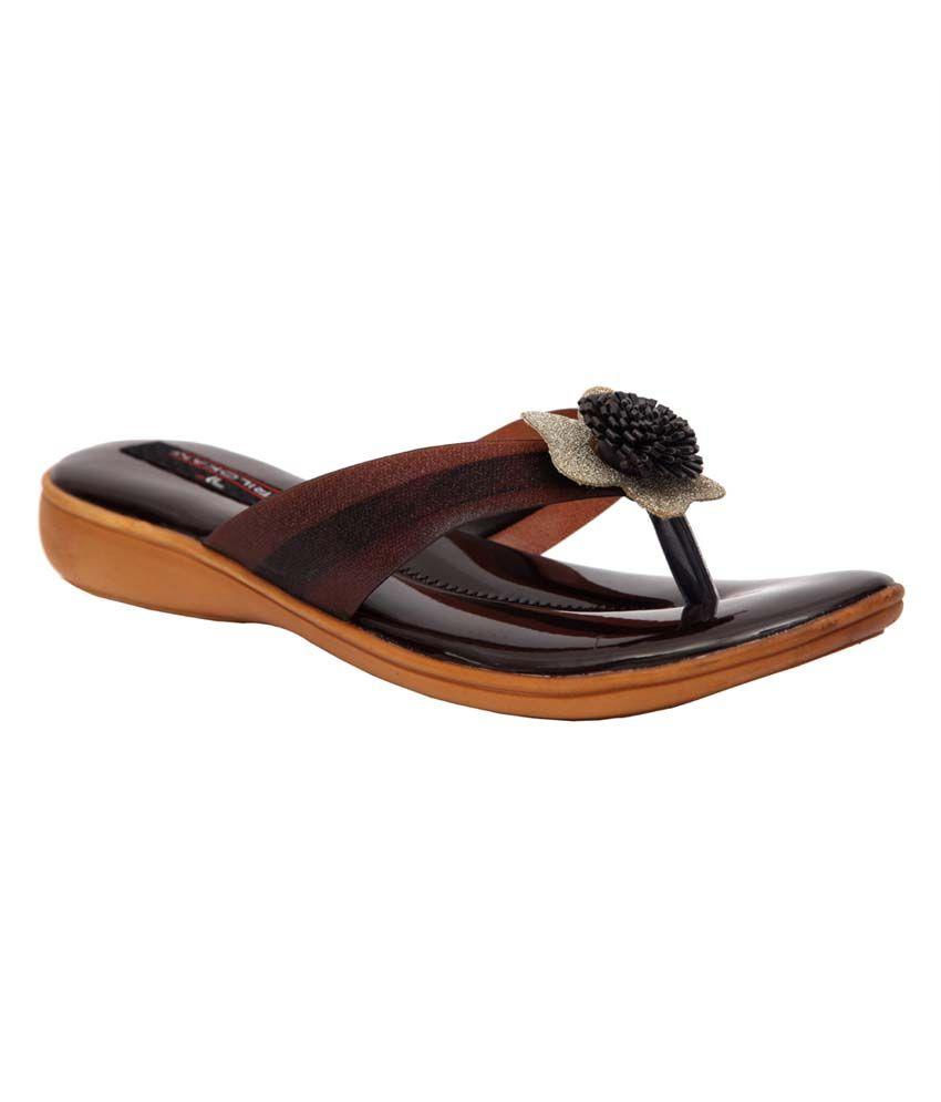 Trilokani Brown Synthetic Comfertable Women's Slipper