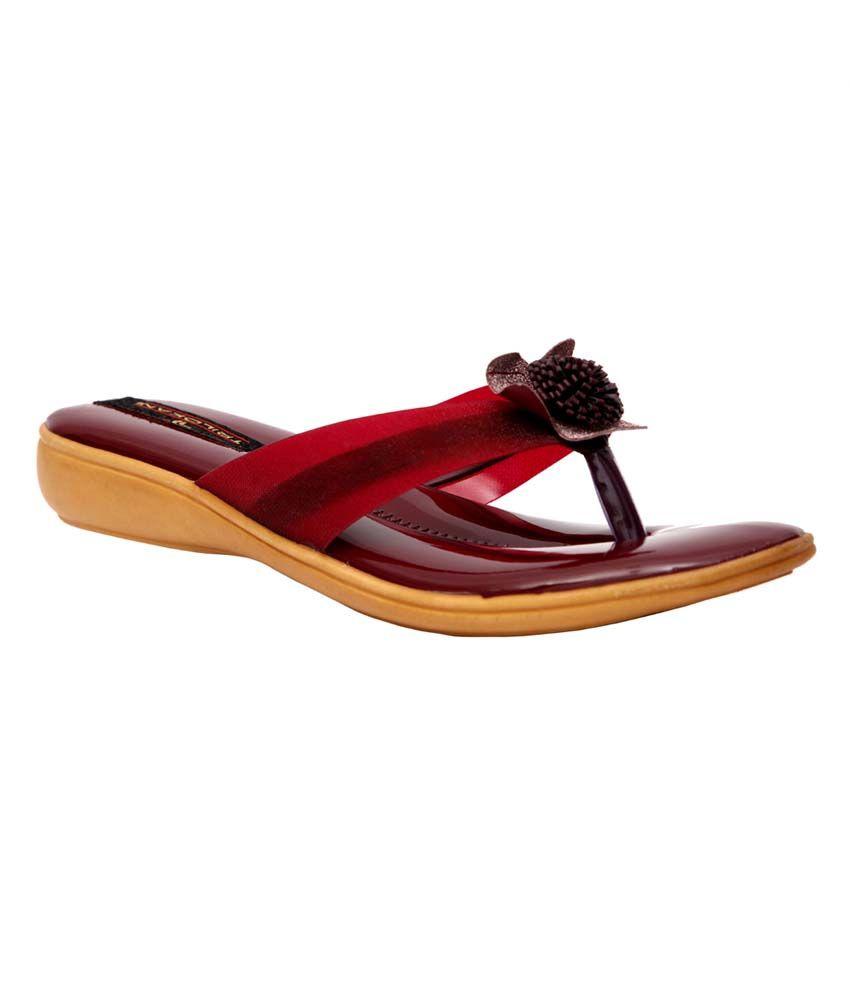 Trilokani Maroon Synthetic Comfertable Women's Slipper