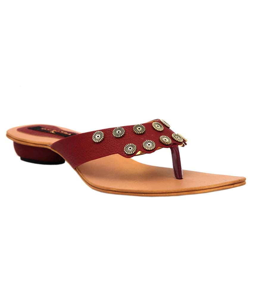 Trilokani Maroon Synthetic Fancy Women's Slipper