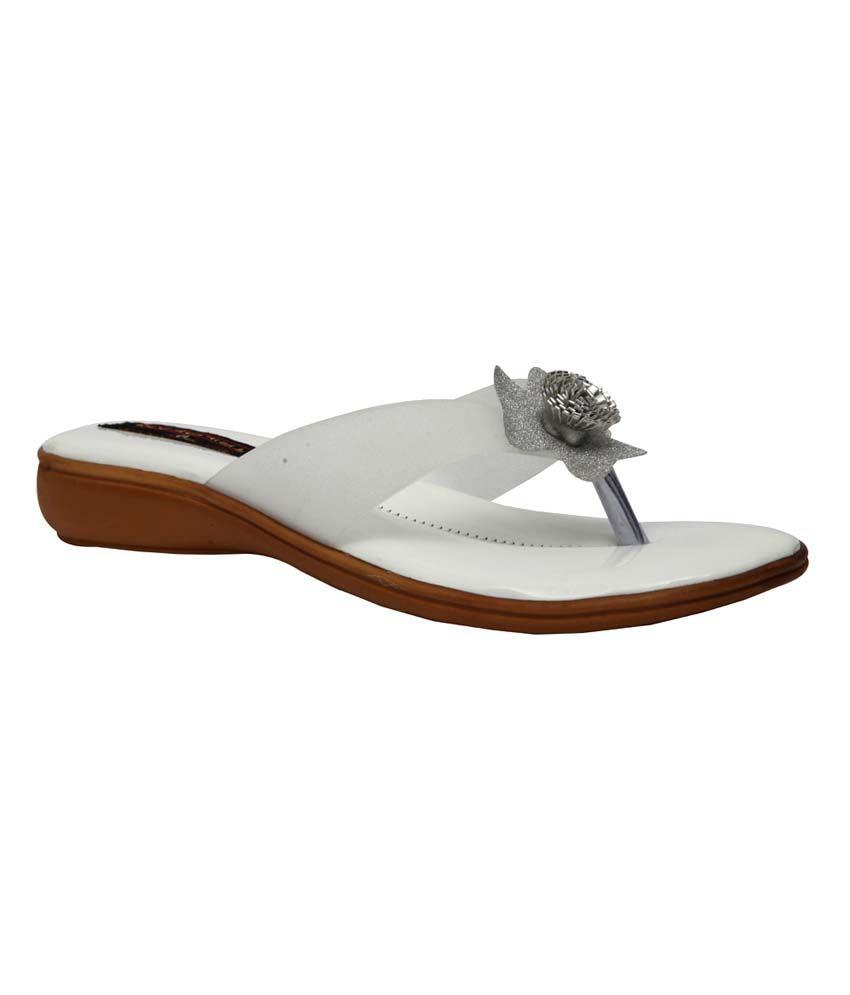 Trilokani White Synthetic Comfertable Women's Slipper