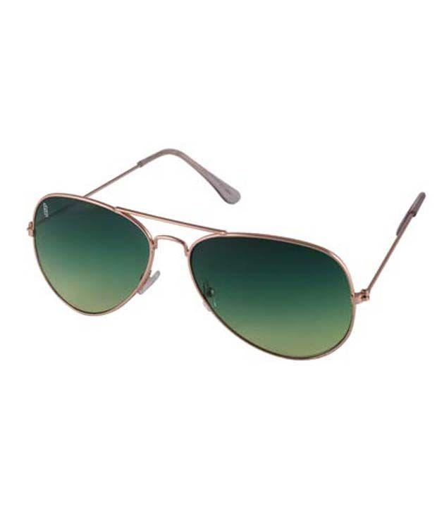 Esque Green Metal Casual Uv Protection Sunglasses For Men