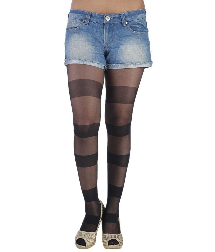 Golden Girl Black Self Pattern Stockings