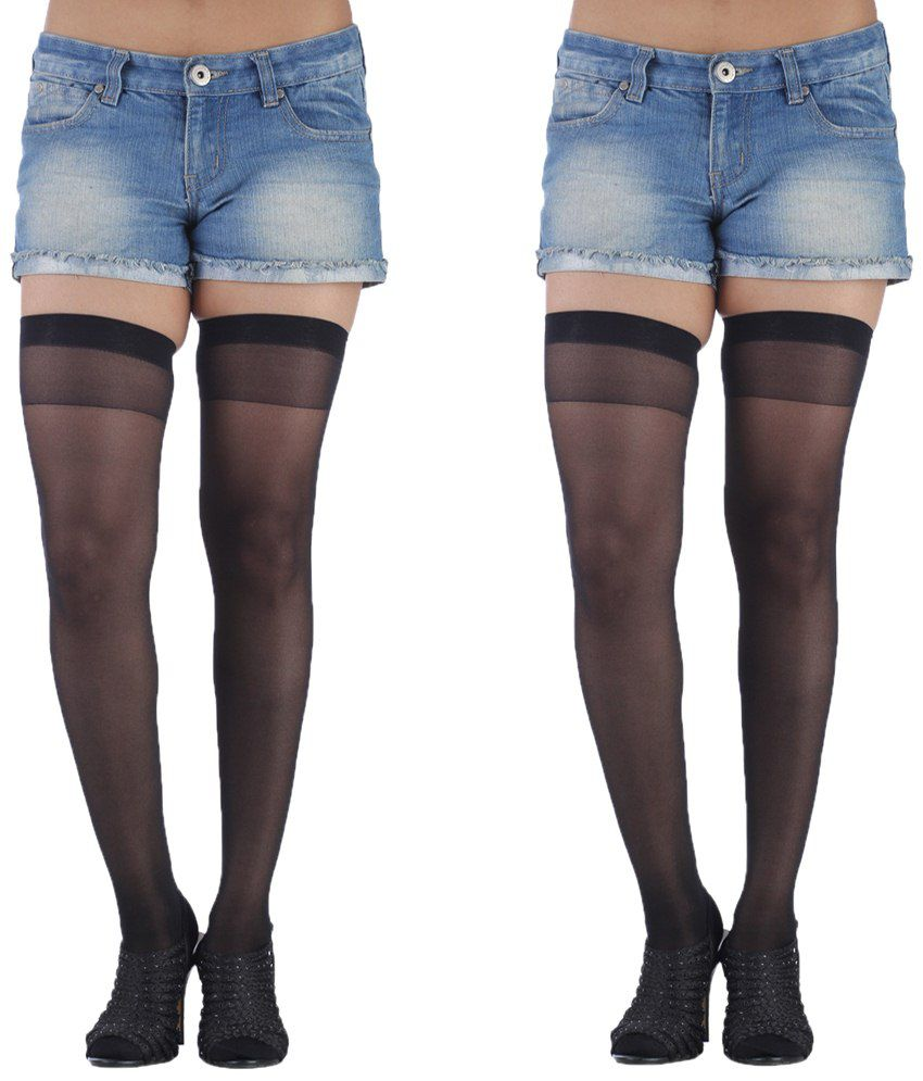 439b1296332 Golden Girl Black Sheer Stockings - Pack Of 2  Buy Online at Low Price in  India - Snapdeal
