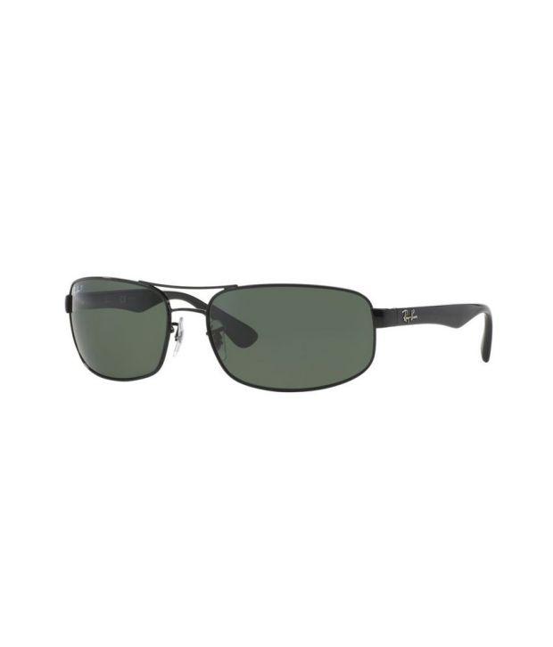 Ray-Ban RB3445 002/58 Rectangle Black / Green Sunglasses